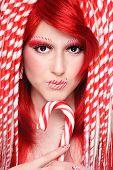 foto of freaky  - Beautiful young freaky girl with fancy make - JPG