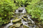 Hoar Oak Water, Watersmeet, Just Above Its Confluence With The East Lyn River, Tumbling Over Rocks A poster