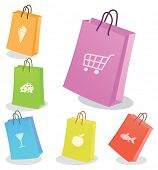 Six shopping bags. Vector illustration
