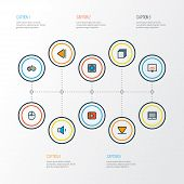 Music Icons Colored Line Set With Joystick, Begin, Categories And Other Previous Elements. Isolated  poster