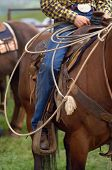 image of western saddle  - detail close up of western horse saddle and lasso rope - JPG