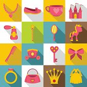 Doll Princess Items Icons Set. Flat Illustration Of 16 Doll Princess Items Icons For Web poster