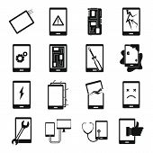 Device Repair Symbols Icons Set. Simple Illustration Of 16 Device Repair Symbols Icons For Web poster