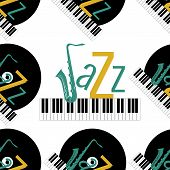 Jazz Concept. Vinyl Record, Piano Keyboard And The Word Jazz. Letter J - Saxophone. Seamless Pattern poster