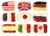 Sandwiches with images of the different flags. Isolated on a white background