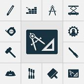 Construction Icons Set With Bricklaying, Putty Knife, Hammer For Tiles And Other Scraper Elements. I poster