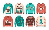 Bundle Of Ugly Christmas Sweaters Or Jumpers Isolated On White Background. Set Of Seasonal Knitted W poster