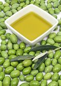 Olive oil with fresh green olives