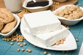 Slices of tofu with other soy products