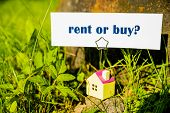 Real Estate Concept. Business Card With Buy Or Rent Message And Small House On Green Nature Backgrou poster
