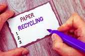 Word Writing Text Paper Recycling. Business Concept For Using The Waste Papers In A New Way By Recyc poster