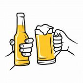 Hands Holding Beer Glasses. Cheerful People Clinking. Mates Drinking Beer In Bar. Vector Background. poster