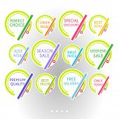 Set Of Colorful Minimalist Graphic Sale Stickers. Circles And Lines Multicolor On White Background.  poster