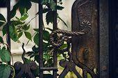 Old Vintage Iron Door Background. Vintage Iron Door Gate. Vintage Iron Door Handle. Old Vintage Rust poster