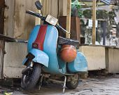 pic of sidecar  - old vespa moped in china town KL malasia - JPG