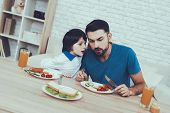 Leisure Time. Having Breakfast. Raising Child. Happy Together. Man. Spends Time. Son. Father Of Boy. poster