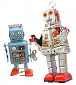 two retro robot toys