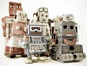 a fun group of robot toys