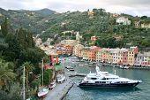 Sea dock in beautiful Italian town Portofino