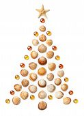 Christmas Tree Made Of Seashells, Starfish And Glass Beads. Isolated On White Background. New Year I poster