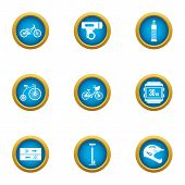 Bicycle Path Icons Set. Flat Set Of 9 Bicycle Path Vector Icons For Web Isolated On White Background poster