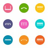 Bridge Crossing Icons Set. Flat Set Of 9 Bridge Crossing Vector Icons For Web Isolated On White Back poster
