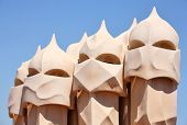 An abstract sculptures on the roof La Pedrera (Milà House) in Barcelona, Spain created by Antonio G