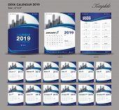Desk Calendar 2019 Year Size  6 X 8 Inch Template, Blue Calendar 2019 Template, Set Of 12 Months, We poster