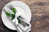 Festive Place Setting For Christmas Dinner On Old Rustic Background. Christmas Table Setting In Scan poster