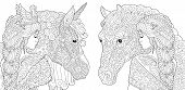 Coloring Pages. Coloring Book For Adults. Colouring Pictures With Fantasy Girl And Unicorn Horse Dra poster