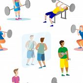 Men And Women Are Engaged Weightlifting In The Gym Seamless Pattern poster