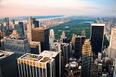 Central park, new york city skyline aerial view