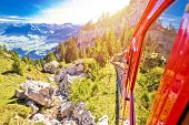 Mount Pilatus Descent On Worlds Steepest Cogwheel Railway, Tourist Landscape Of Switzerland poster