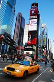NEW YORK CITY - SEP 5: Times Square, featured with Broadway Theaters and  LED signs, is a symbol of