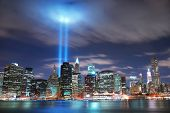 NEW YORK CITY, NY - SEP 2: Light beams are lit at the site in memory of World Trade Center destroyed