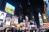 NEW YORK CITY, NY - JAN 30: Times Square is featured with Broadway Theaters and animated LED signs a