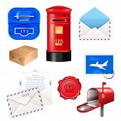 Realistic Post Mailbox Letter Set With Isolated Images Of Various Parcel Post Packages Boxes And Env poster
