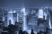 New York City Manhattan Times Square skyline aerial view panorama black and white with skyscrapers a