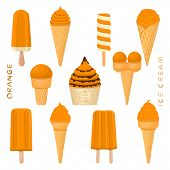 Vector Illustration For Natural Orange Ice Cream On Stick, In Paper Bowls, Wafer Cones. Ice Cream Co poster