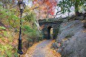 Stone bridge in Autumn in New York City Manhattan Central park.