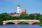John W. Weeks Bridge and clock tower over Charles River in Harvard University campus in Boston with