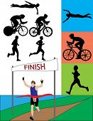 Triathlon Silhouettes - Raster Version