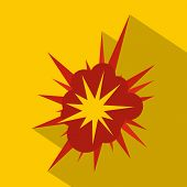 Nucleate Explosion Icon. Flat Illustration Of Nucleate Explosion Icon For Web poster