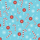 Christmas Candy Pattern On Blue Background. Seamless Texture With Christmas Candy Cane, Lollipop And poster