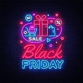 Black Friday Sale Neon Banner Vector. Black Friday Neon Sign, Design Template, Modern Trend Design,  poster