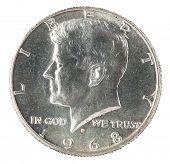 John F Kennedy Half Dollar isolated on white