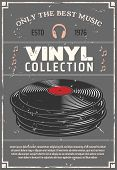 Vinyl Retro Poster For Music Shop Or Audio Appliances Of Players, Earphones Or Headphones And Audio  poster