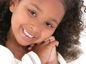Beautiful little six year old girl portrait. Shot in studio.
