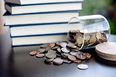 Money Saving Money Saving Ideas Save Money, Preset Ideas By Hand, Put Money In The Money Stack Busin poster
