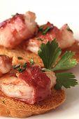 Glazed Bacon Wrapped Shrimp Crostini